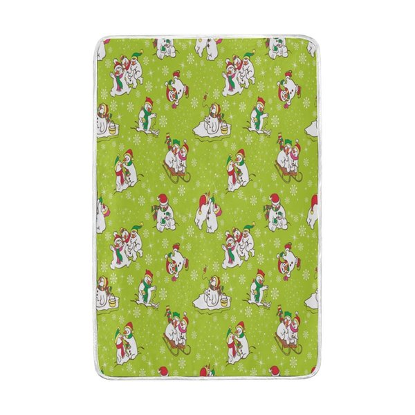 Merry Christmas Cute Snowman Snowflake Green Blanket Soft Warm Cozy Bed Couch Lightweight Polyester Microfiber Blanket