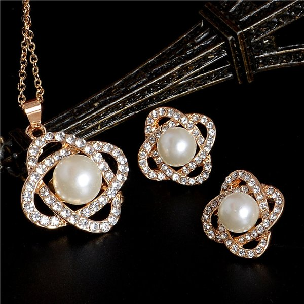 Romantic Flower Simulated Pearl Jewelry Sets Crystal Necklace Earrings Sets Women Fashion African Beads Jewelry for Party