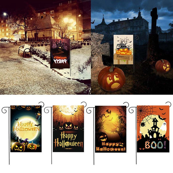 2019 Halloween Garden Flags Pumpkin Ghost Party Home Decor Outdoor Hanging Polyester Garden Flags Halloween Decorations From Esw Home 1 7