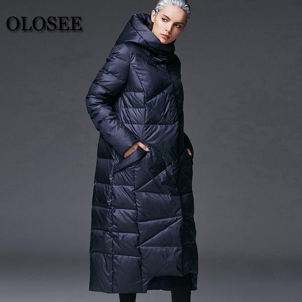 2018 Yeni kadın Kış Aşağı Ceketler Kadın Ekstra Uzun Kapşonlu Aşağı Coat Yüksek Kalite Kalın Sıcak Beyaz Ördek Parka / UV1289