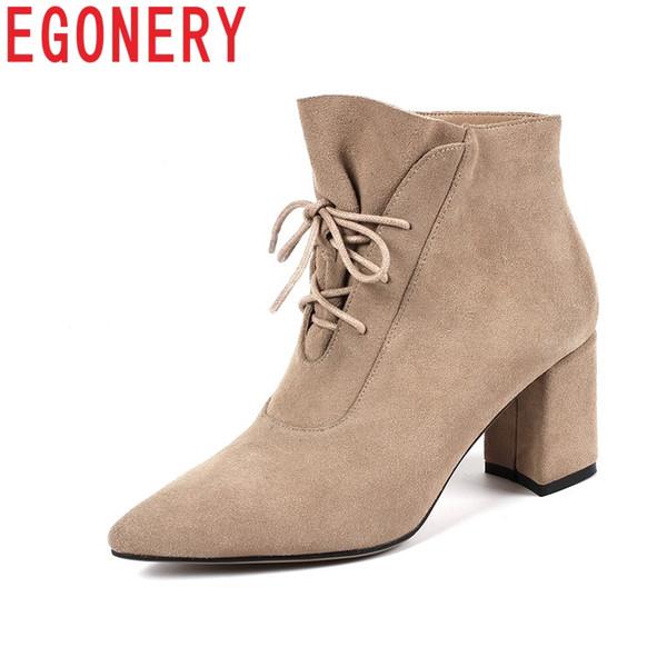 Großhandel Egonery Frau Ankle Boots Schwarz Wildleder Mittlere Schuhe Damenmode Schuhe Frauen Schuhe Lace Up Lässig Spitz Stiefeletten Von Amoyshoes,
