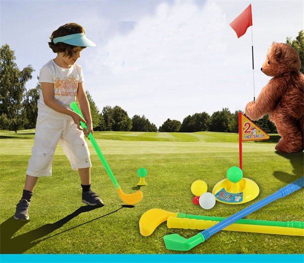 A set of children golf equipment with golf accessories fun family indoor outdoor game recreational child fitness plastic toys