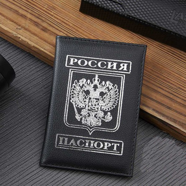 Travel Passport Cover Women Men Russian Emblem Passport Holder Case PU Leather Business Card Wallet