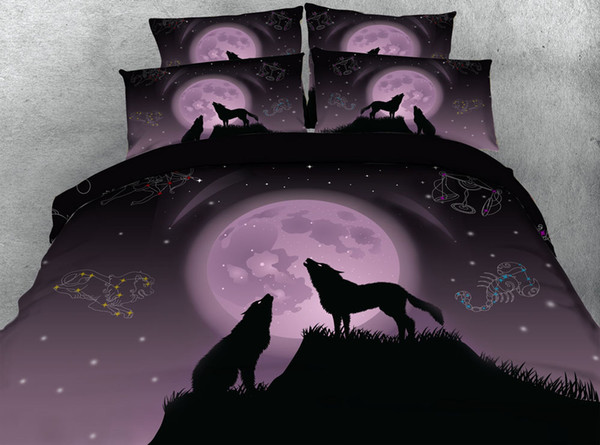 3D galaxy wolves bedding sets queen christmas duvet cover stars bedlinens single twin king cal king size purple bedspreads animal bed set