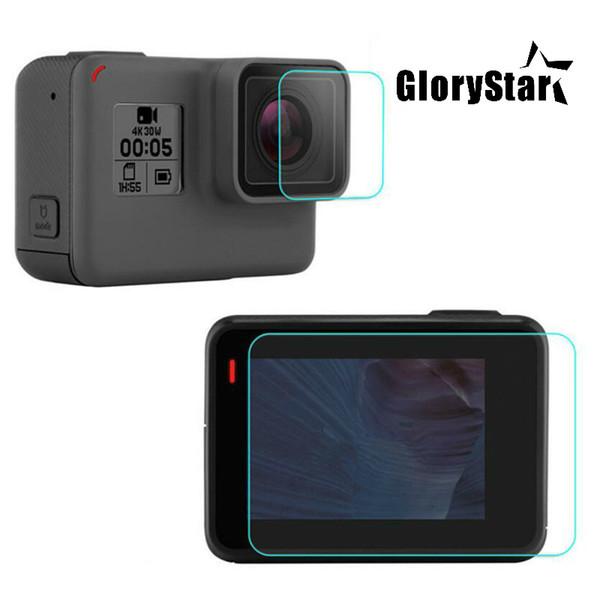 GloryStar закаленное защитная крышка Case для GoPro Go pro Hero5 Hero6 Hero 5 6 Черный объектив камеры ЖК-экран ясно защитная пленка