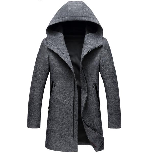 Abrigo largo de invierno con capucha Trench Coat Invierno de los hombres ocasionales de lana con capucha gabardinas de la cremallera Slim Fit Mens Windbreaker Pea Coat