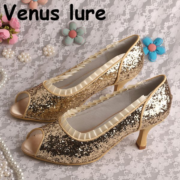 4f0d9322b795d Custom Handmade Glitter Gold Shoes Size 7 Open Toe Ladies Pumps Mid Heel  High Heels Heels From Shoes1234, $55.69| DHgate.Com