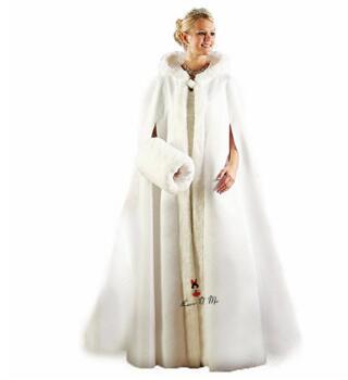 Elegant Cheap Warm Bridal Cape ivory White Winter Fur Coat Wedding Bolero Jacket Bridal Cloaks Hooded with Faux Fur Wedding Coat