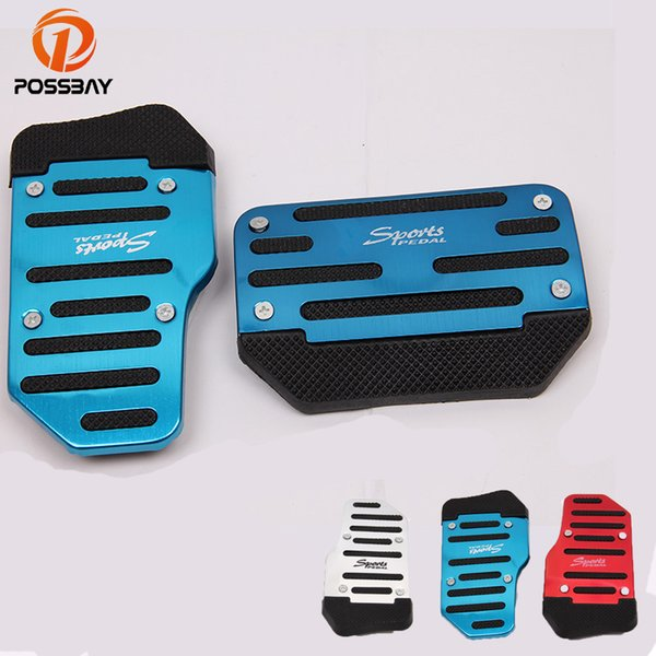 POSSBAY Universal Car Brake Pedals Cover Case Red Silver Blue Foot Rest Pedal Pad Interior Accessories Car Accelerator