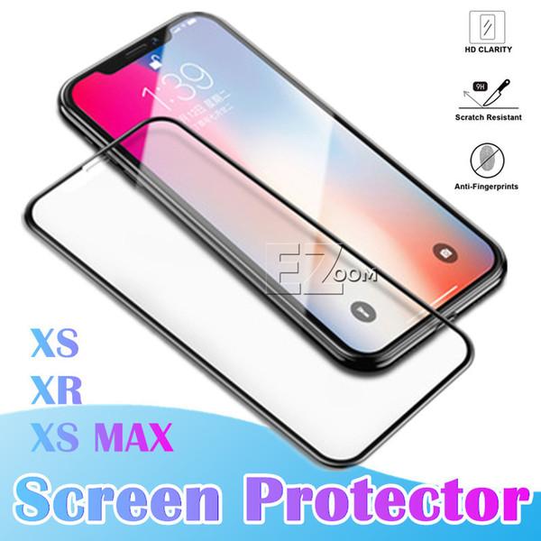 Yeni iPhone XS MAX Ekran Koruyucu Tam Kapsama Temperli Cam Ekran Koruyucular Film Kenar Kenarı Korumak için Apple iPhone XR X 8 artı 7