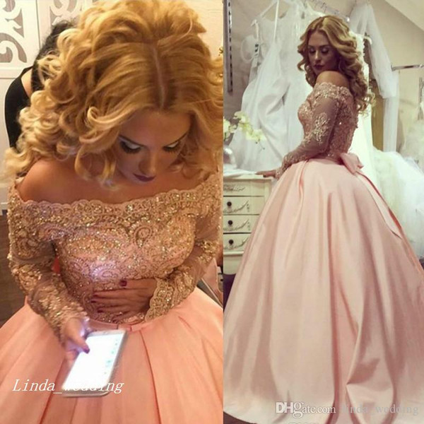Blush Pink Pretty Ball Gown Sexy South African Prom Dress Applique Long Sleeves Banquet Evening Party Gown Custom Made Plus Size