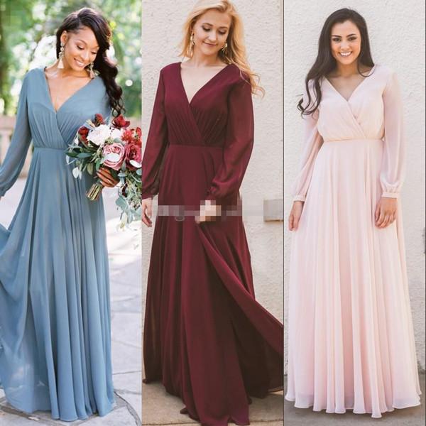 2019 Bordo Şifon Gelinlik Modelleri Uzun Kollu Batı Ülke Stil V Yaka Backless Uzun Plaj Düğün Elbiseleri Ucuz