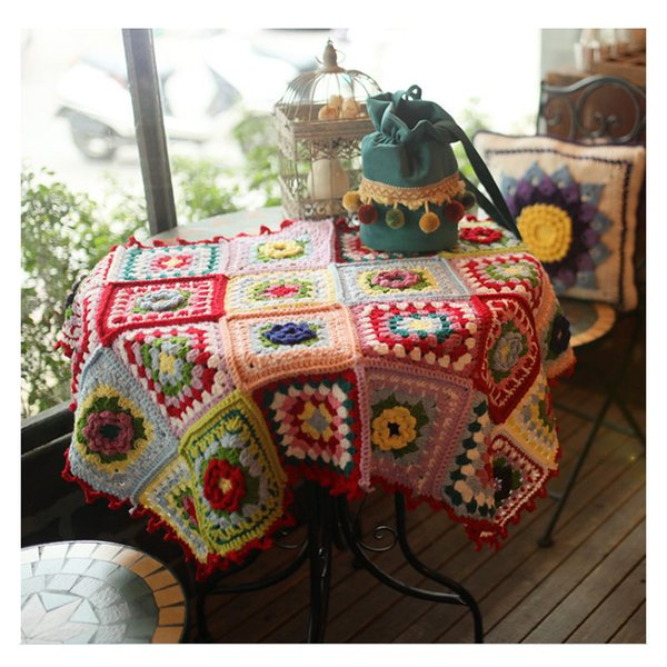 Retro Handmade Crochet Woolen Square Antique Blanket Portable Carpet DIY Table Placemat Kitchen Drink Table Cloth Crochet Scarf Shawl Film