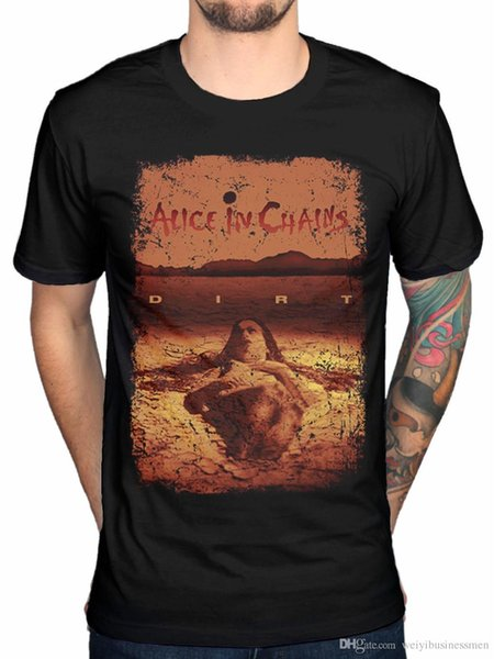 Shirt SaleShort Sleeve Graphic O-Neck Alice In Chains Dirt Mens Black Cotton Top T-Shirt Tee Tour Tees For Men