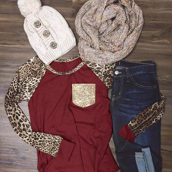 best selling Women leopard sleeve raglans glitter pockets shirts long sleeve cotton leopard printed fashion lady monogrammed jersey