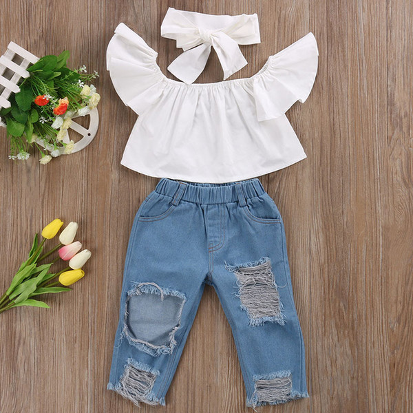New Fashion Children Girls Clothes Off shoulder Crop Tops White+ Hole Denim Pant Jean Headband 3PCS Toddler Kids Clothing Sets Baby