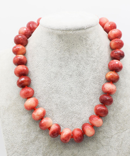 red jade round faceted 12*16mm necklace 17inch wholesale beads nature FPPJ woman 2018
