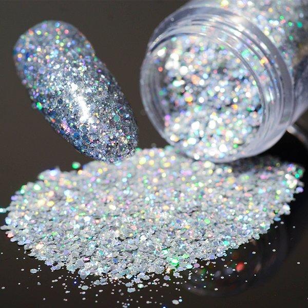 1 Caixa de 10g Holo Laser Glitters Lantejoulas Prego Brilhante Prata Hexágono Prego Poeira Pontas Manicure Decorações de Arte