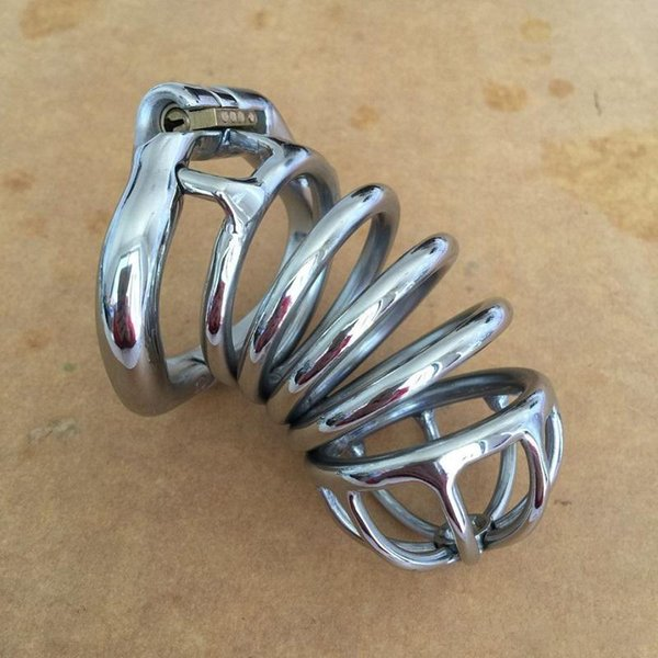 Chastity Devices Male Penis Lock Stainless Steel Chastity Belt Metal Cock Cage For Men With Curved Penis Rings