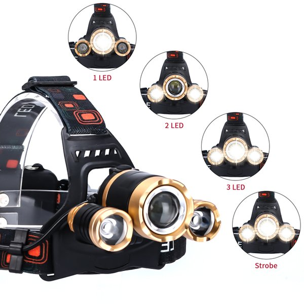 LED headlamp head light outdoor Zoomable lighting T6 2*18650 batteries high power T6 three headlights headlamp flashlights Torch Sensor