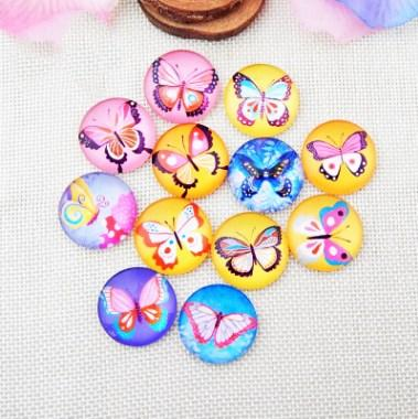 50pcs 2018 HOT selling Crayon butterfly galss Snap button Charm Popper for Snap Jewelry picture pendant