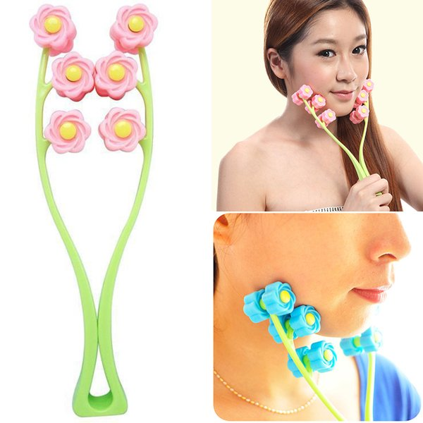 face massage roller slimming face facial skin preventing wrinkles wheel flower type elastic facial massager face-lift massage