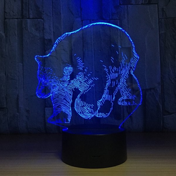 Bear 3D Optical Illusion Lamp Night Light DC 5V USB Charging AA Battery Wholesale Dropshipping Free Shipping