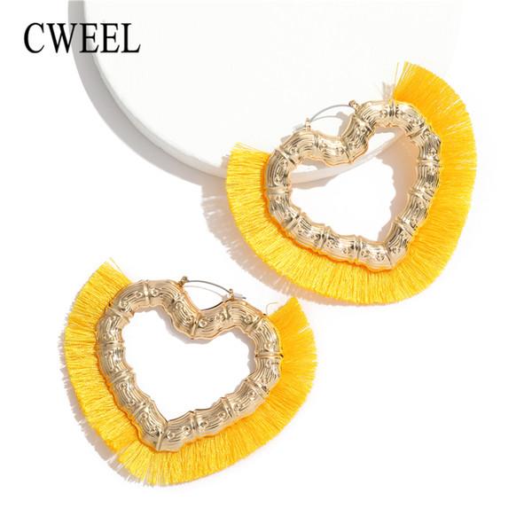 Cweel borla brincos para as mulheres brincos de bambu moda jóias de casamento coração encantos do vintage vermelho amarelo boêmio brinco