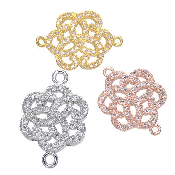 10 pcs / lot mode fleur brillant Connecteur Charme bon pour Bracelets Colliers Boucles D'oreilles Fabrication de Bijoux