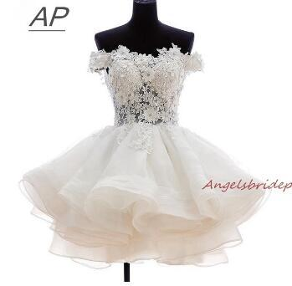 ANGELSBRIDEP Short Prom Dresses 2018 Vestido De Festa Fashional Off-Shoulder Applique Organza Special Occasion Party Ds