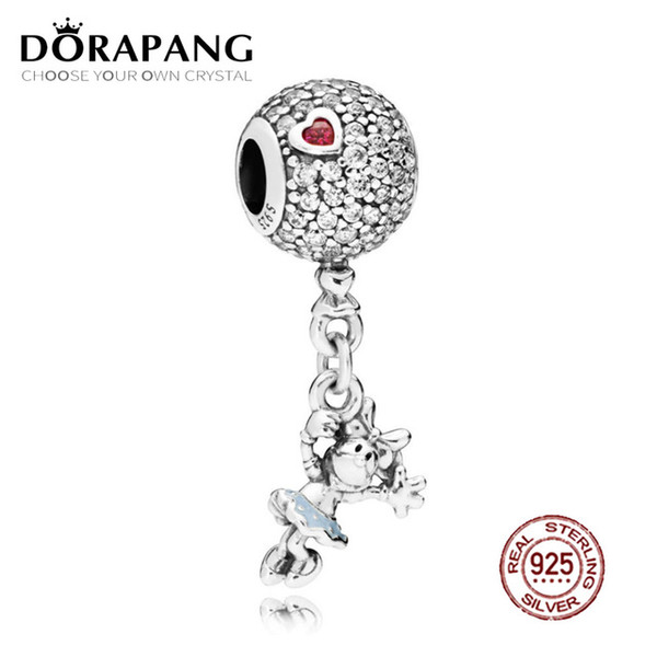DORAPANG 100% 925 Sterling Silver Lovely Floating Hanging Charm Pink Pendant Bead For Mother Gift Fit Bracelet DIY Necklace
