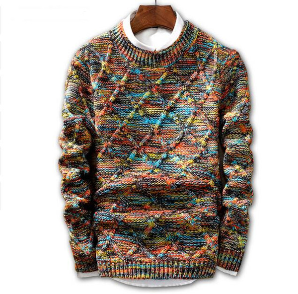 best selling JIN JUE LES Sweater Men 2020 fashion Pullover Sweater Male O-Neck stripe Slim Fit Knitting Mens Sweaters Man Pullover Men