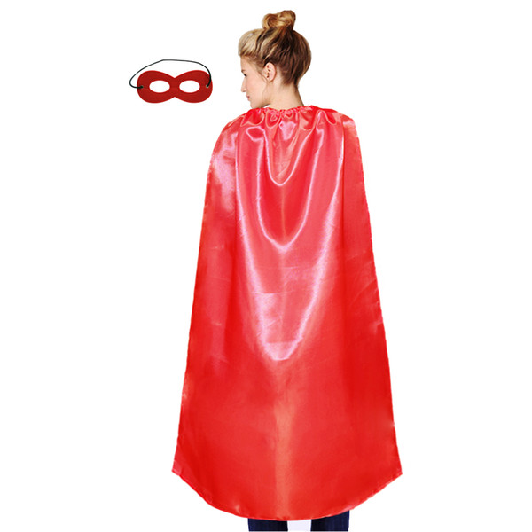 top popular one layer plain party cape with mask show cosplay solid color single lace-up satin costume adult size cape 2021