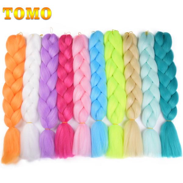 TOMO Synthetic Kanekalon Jumpo Braids Braiding Hair Extensions 24Inch Ombre Twist Crochet Braids Jumpo Box Braids for Black Women