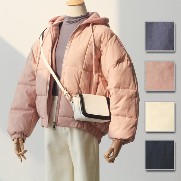 2018 Inverno vestiti coreani Studente con cappuccio Manica a pipistrello Vestiti imbottiti in cotone Donna calda Cappotto cachi nero blu rosa