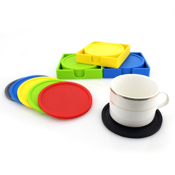 Silicone coaster set Thickened coaster silicone insulation and non-slip cup mat 1 set = 4pcs coaster + 1pcs holder
