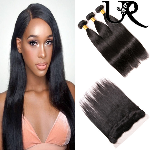 Brazilian Virgin Hair Straight with Frontal Closure 8A Unprocessed Malaysian Peruvian Filipino Human Hair Weaves and 13x4 Lace Frontals