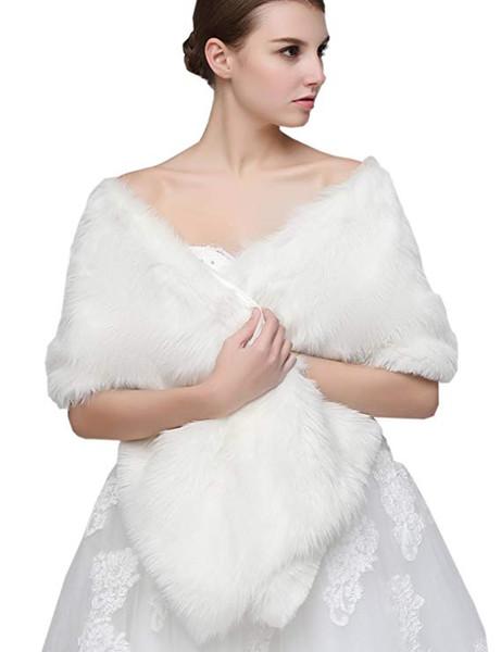 Wedding jacket wrap Shawl Cloak Cape Jacket Bridal Bolero Winter Wraps Coat Stole Faux Fur Fabric For Brides Womens 17005