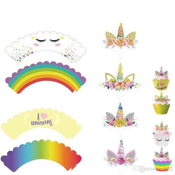 24pcs/Set Toppers Cartoon Unicorn Rainbow Unicornio Cupcake Cake Baking Cup Wrappers Wedding Birthday Party Decorations Tools 6 8rz ZZ