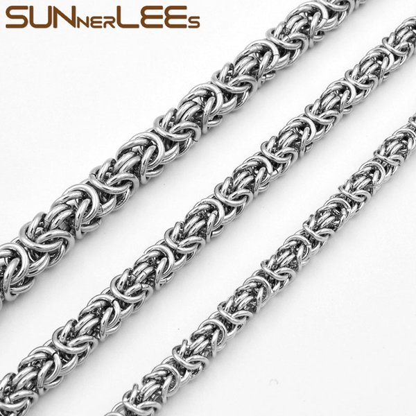 Fashion Jewelry Stainless Steel Necklace 5mm 7mm 9mm Silver Color Byzantine Link Chain For Mens Womens SC11 N