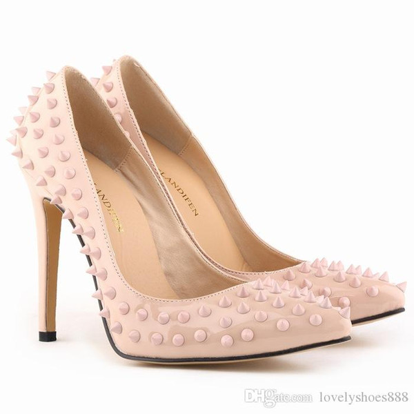 sexy rivets heel fashion leather women shoes size 34-42 beige rose orange pink white dress shoes 473