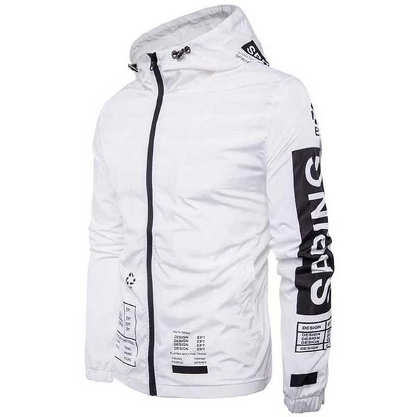 Großhandel Envmenst Weiße Jacke Männer 2017 Herren Brief Gedruckt Mit Kapuze Beiläufige Weiße Jacken Männlichen Mantel Dünne Männer Mantel Outwear Von