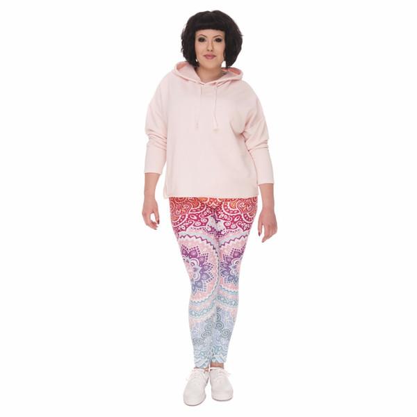 Nuove donne di formato più Leggings Aztec rotonda stampa Ombre Stretch pantaloni a vita alta pantaloni di grandi dimensioni per le donne grassoccia