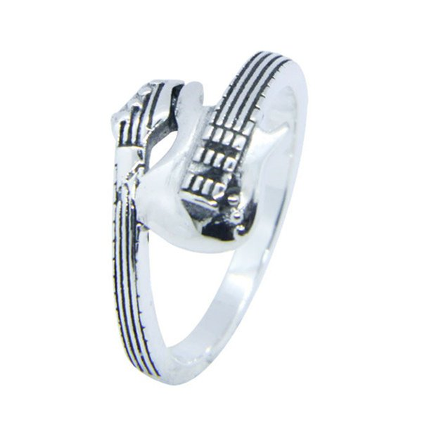 Free Shipping 925 Sterling Silver Music Guitar Ring Fashion Jewelry Size 6-10 Lady Girls Band Party Rock Guitar Ring