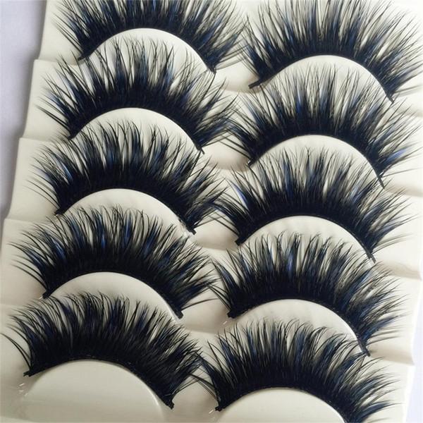 SiyahMavi 5 Çift / kutu Kalın Göz Lashes Uzatma Parti Makyaj Yumuşak Çapraz Sahte Makyaj Güzellik Yanlış Kirpik Cosmestic