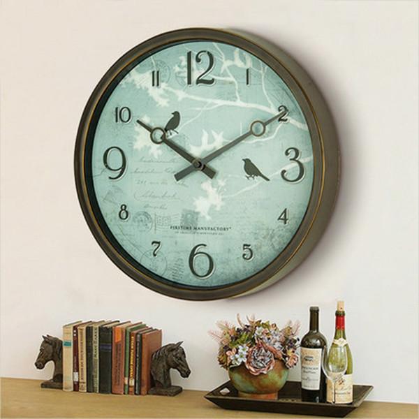 Beautiful Wall Clocks Home Decor For Bedroom Nordic Retro Silent Wall Clock Sticker Jam Dinding Unik Kids Clock Mute 50CW29