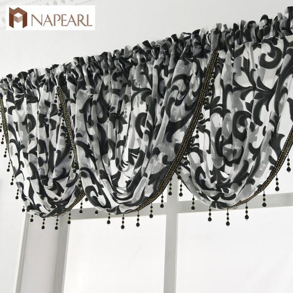 NAPEARL Beaded Waterfall Valance European Luxury Curtain Valance Sheer Fabrics Window Decoration Treatment Transparent Jacquard