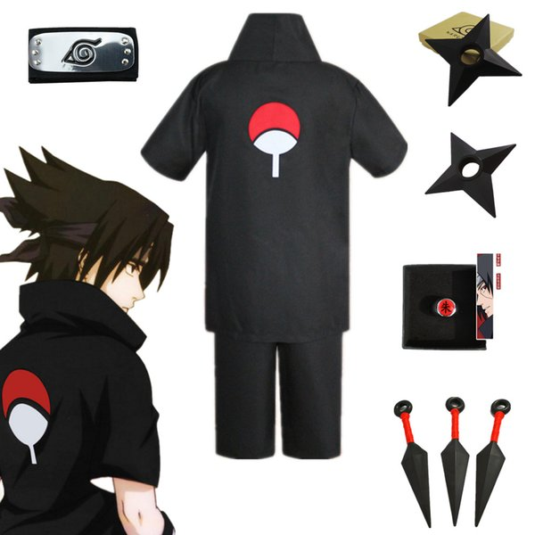 Halloween Unisexe Japon Anime Naruto Noir Uchiha Sasuke Costume Party Costume À Manches Courtes Chemise Shorts Bandeau Ensemble Complet