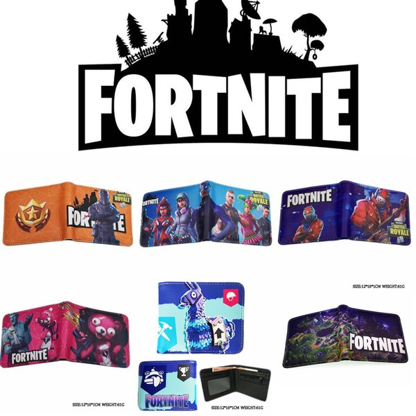 17 Style Kids Fortnite 3D PU wallet bags 2018 New Children Cartoon game wallet coin purse bag MMA430 20pcs
