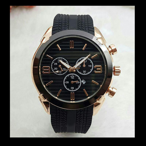 Automatische Datum relogio masculino Herren Uhren Top-Marke Luxus Designer Emporio Kalender braun Gummi Uhrenarmbänder Schnallen männliche Uhr